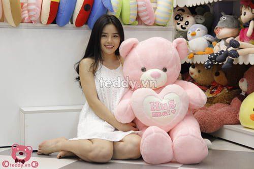 Gấu Teddy hug me hồng baby