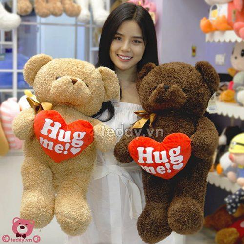 Teddy Ôm Tim Hug Me Đôi 80cm