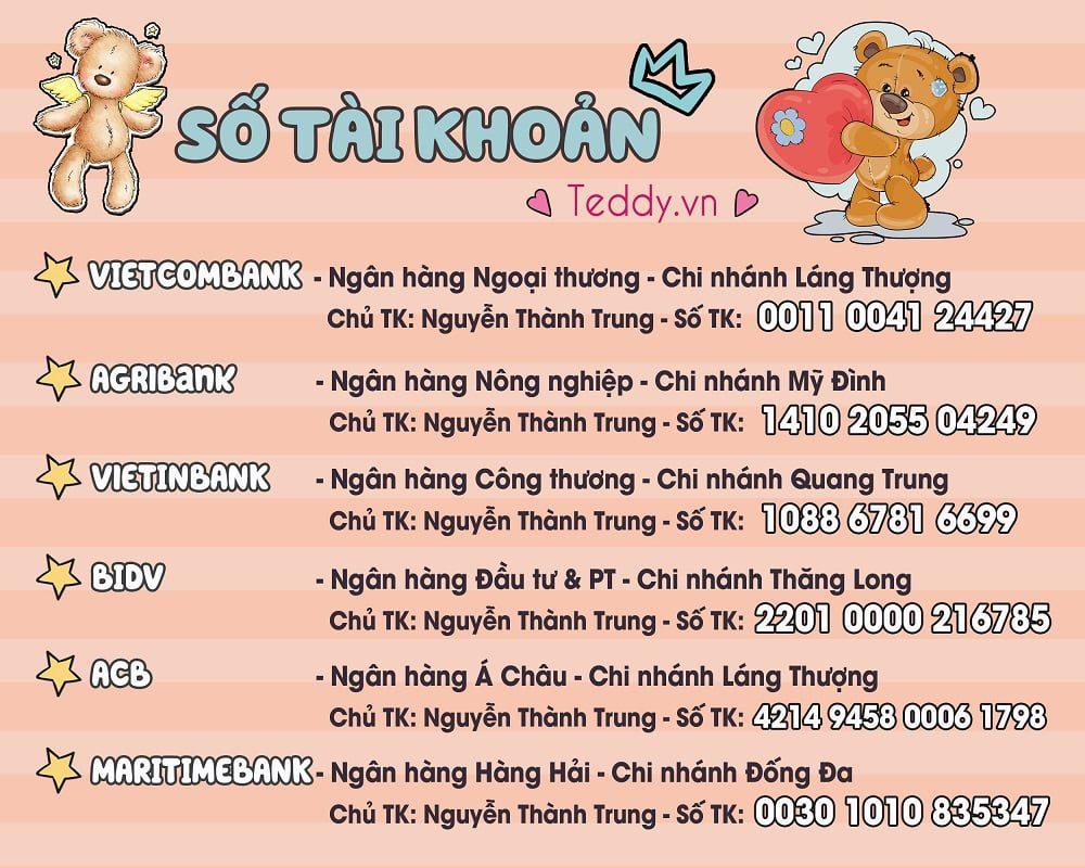 Số tài khoản chuyển tiền cho Teddy.vn