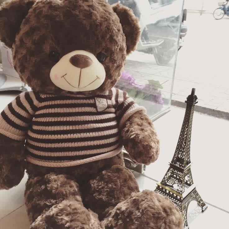 Gấu Teddy 1m4 siêu đáng yêu màu nâu bông xoăn