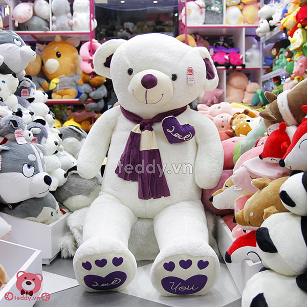Gấu Bông Teddy Khăn Tim Màu 1m8