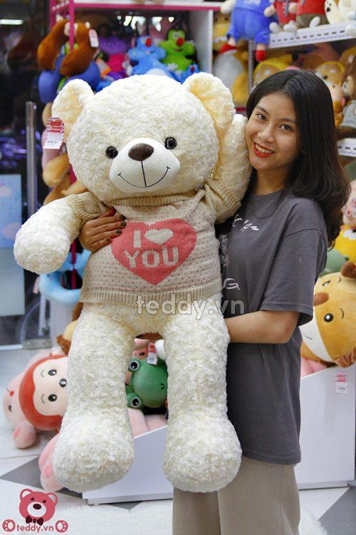 Gấu Bông Teddy Lông Xoắn Áo Len