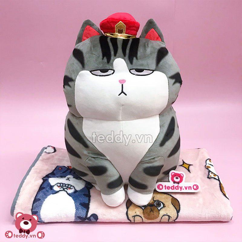 Gối Chăn Mềm Mèo Hoàng Thượng Ngồi
