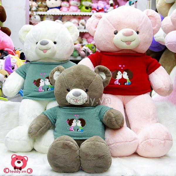 Gấu Bông Teddy Lông Trơn Áo Kiss