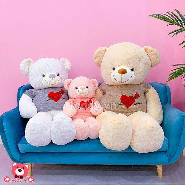 Gấu Bông Áo Tim Hoa